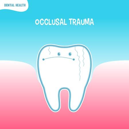 trauma: Vector cartoon bad tooth icon with occlusal trauma