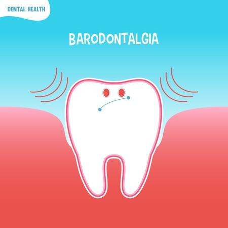 dental pulp: Vector cartoon bad tooth icon with baradontalgia