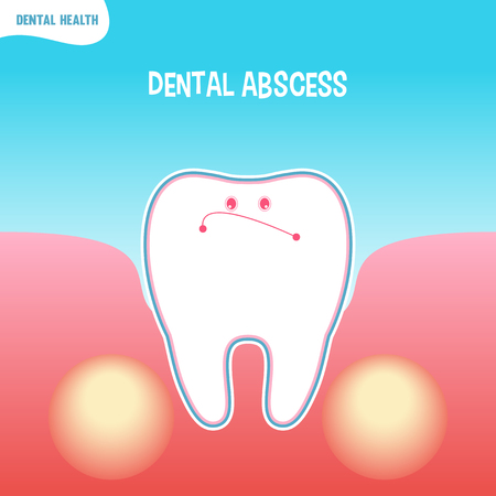 abscess: Vector cartoon bad tooth icon with dental abscess