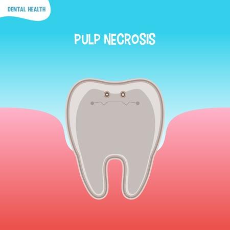 necrosis: Vector cartoon bad tooth icon with pupl necrosis