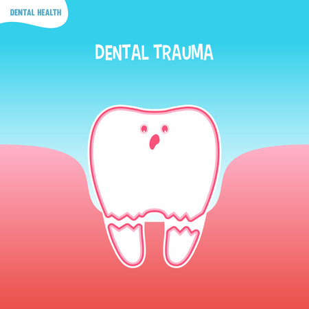 trauma: Vector cartoon bad tooth icon with dental trauma Illustration