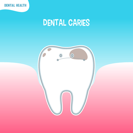 caries dental: Vector de dibujos animados icono de mala diente con caries dental