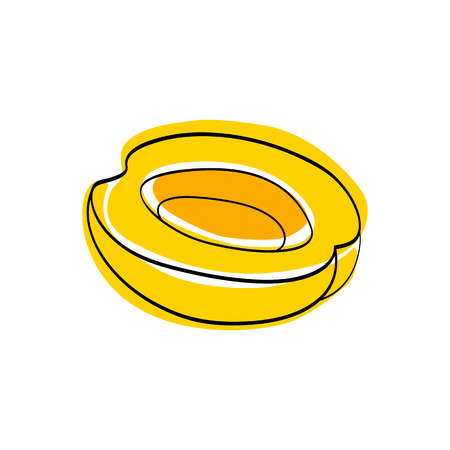 marmalade: Vector illustration Yellow half apricot without seed