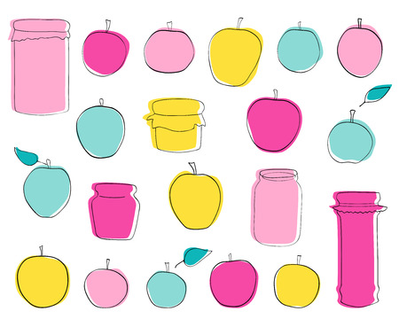 Vector hand-drawn set Apple jam and fruits