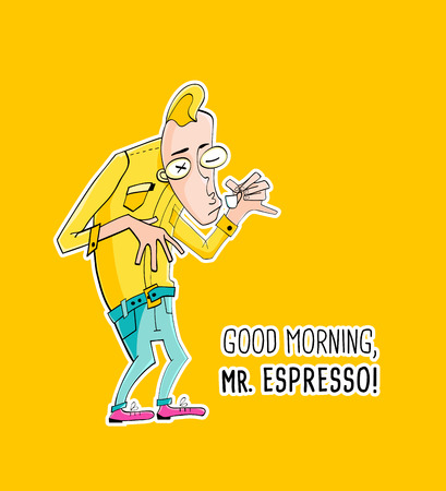 clerks: Cartoon character Mister Espresso Coffee, vector illustration in hipster style