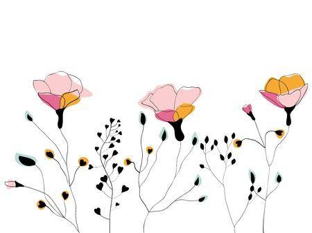Line Art Illustration Style : Poppy flower and capsule vector illustration in scandinavian