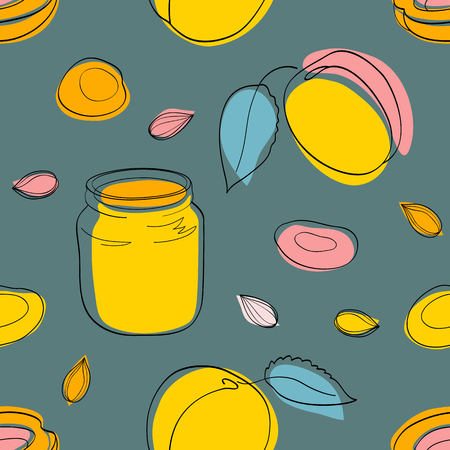 seamless pattern Apricot jam and fruits on gray green Illustration