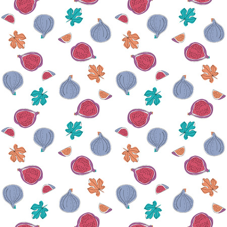 fig: Cartoon Seamless Pattern with fig fruits and leaves