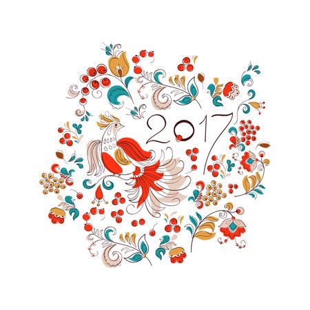 lunar calendar: illustration of red rooster, symbol of 2017. Chinese lunar calendar. Folk graphic style