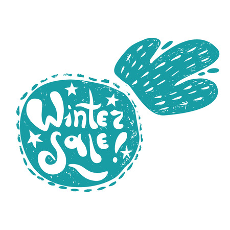 advertizing: snowball silhouette with Winter Sale hand lettering. Design for your Christmas sales labels or stickers Illustration