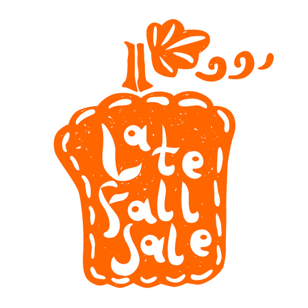 advertizing: pumpkin silhouette with Late Fall Sale hand lettering. Design for your Christmas sales labels or stickers