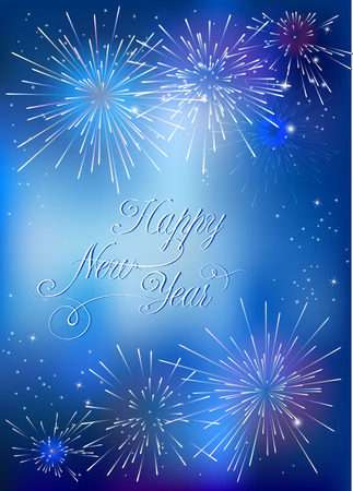 selebration: Happy New Year vector card with golden fireworks Illustration