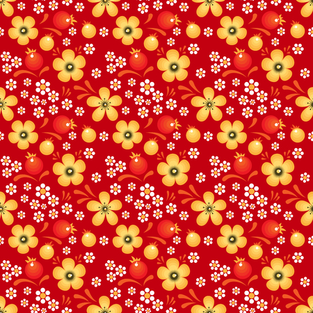 Flowers and Berries on Red field. Vector seamless pattern in Khokhloma style Illustration