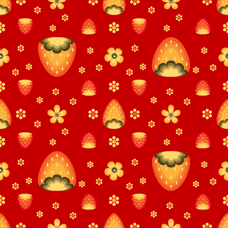 Strawberry fields in Khokhloma traditional style.  seamless pattern for wrapping paper or fabric. Red backdrop