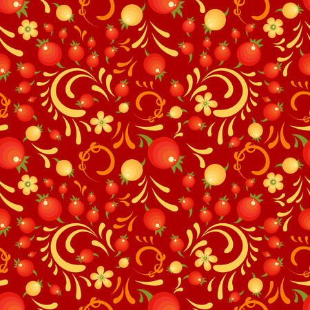 Cranberry floral pattern in Khokhloma style.  seamless pattern for wrapping paper or fabric. Red backdrop