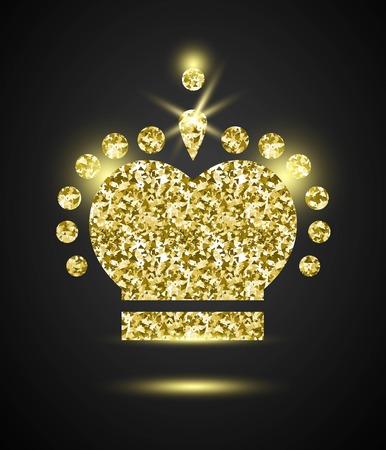 Glitter Stylish Golden Crown, vector composition for royal design