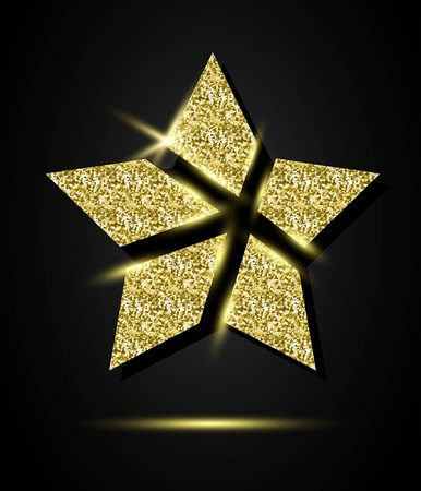 Glitter Stylish Golden Star, vector composition for glamour design