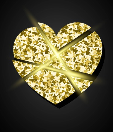 broken love: Glowing golden broken heart. Vector element for Valrntine design