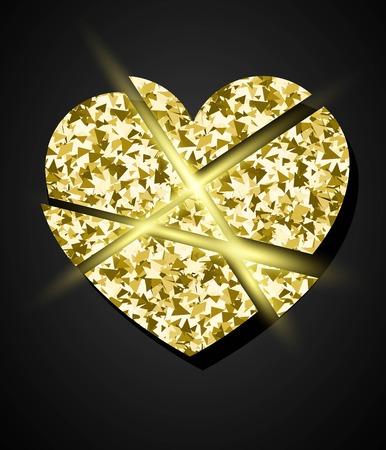 Glowing golden broken heart. Vector element for Valrntine design