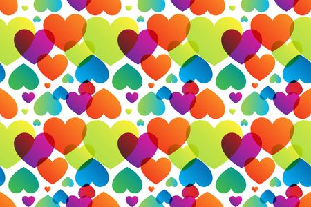 tender passion: Romantic seamless pattern with vector watercolor hearts