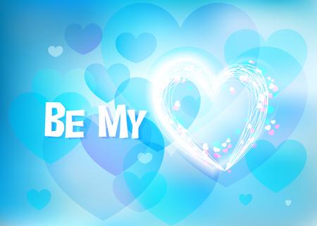 Be My Valentine, design for Valentine Day, light blue