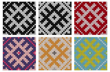 Set of North knitting seamless patterns