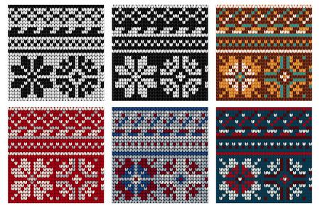 norwegian: Set of Norwegian knitting seamless pattern