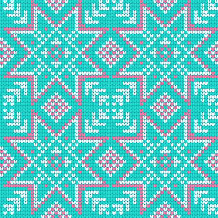 norwegian: Traditional knitting pattern for Ugly Sweater, vector seamless pattern with Norwegian Star