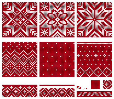 Set Of Norwegian Star Knitting Patterns Vector Seamless Patterns