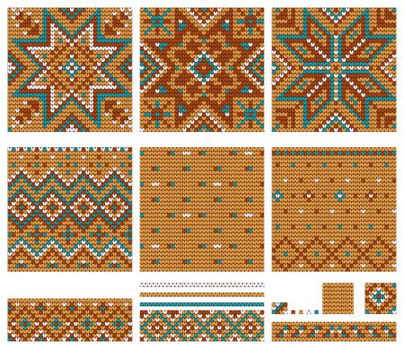 norwegian: Set of Norwegian Star knitting patterns, vector seamless patterns