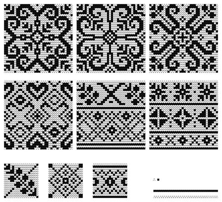 Set Of Norwegian Star Knitting Patterns Royalty Free Cliparts