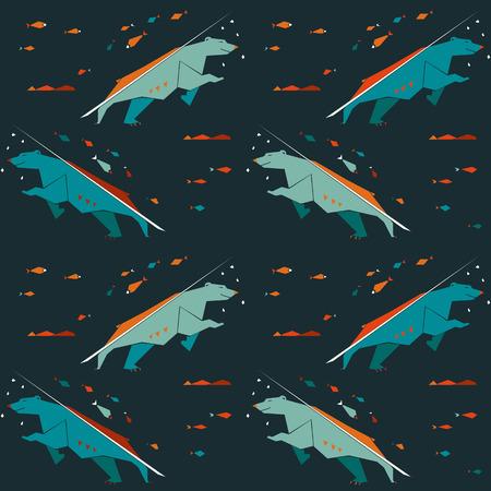 animalistic: Modern animalistic vector textile pattern. Nordic bears