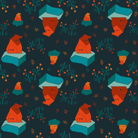 animalistic: Modern animalistic textile vector pattern. Nordic bears