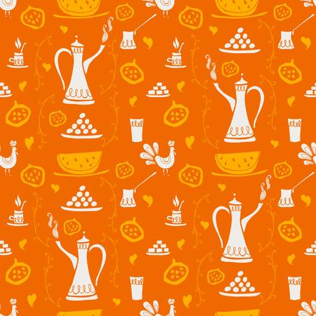 Kawa wektor wzór do projektowania tkanin, pomarańczowy i żółty Ilustracja