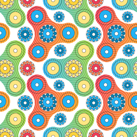 Fidget spinner toy vector seamless pattern color transition modern trend Illustration