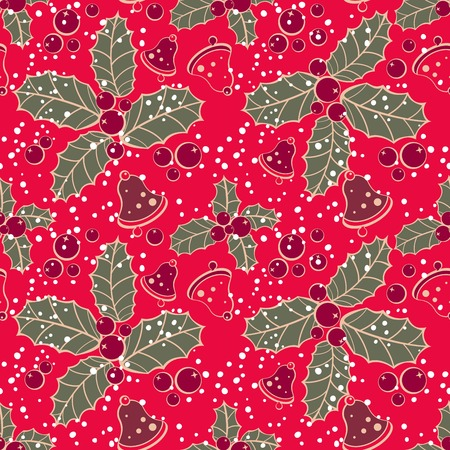 Christmas vector seamless pattern. Holly and bells
