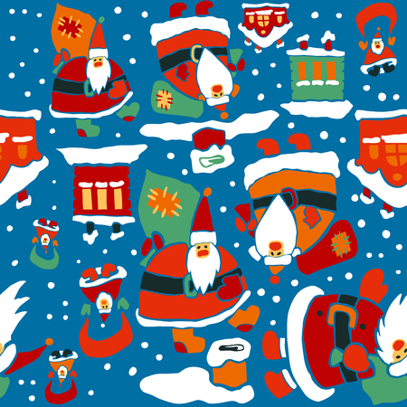 Cartoon Christmas vector seamless pattern for wrapping paper design. Santa Clauses and roofs