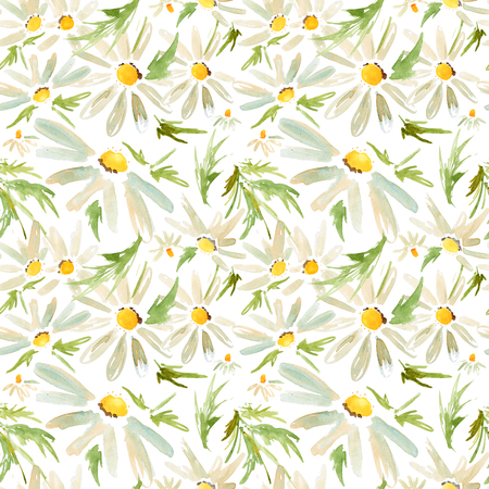 Watercolor seamless pattern with camomile daisy flowers Stock Photo