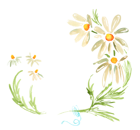 Watercolor decorative frame with daisies camomile flowers Stock Photo