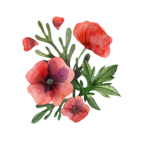 Poppy and grass hand painted watercolor boutonniere. Flowers and branches and leaves on a white background.