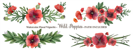 Wild Poppies hand painted watercolor headline or ending vingettes. Flowers and branches and leaves on a white background. Isolated, path included.
