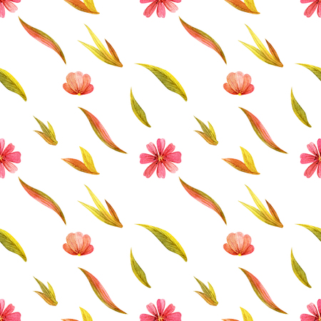 Yellow wild plants seamless pattern. Watercolor on a white backdrop, path included Stock Photo