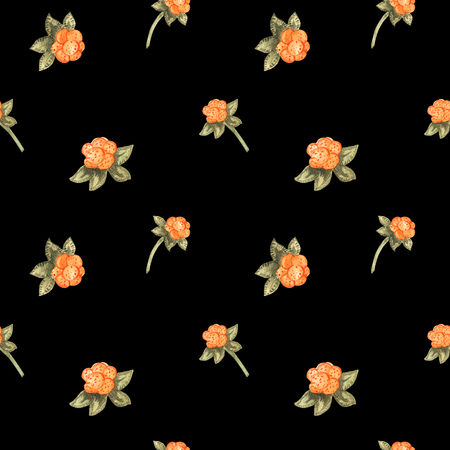 Arctic cloudberry seamless pattern. Watercolor on a black background, path included