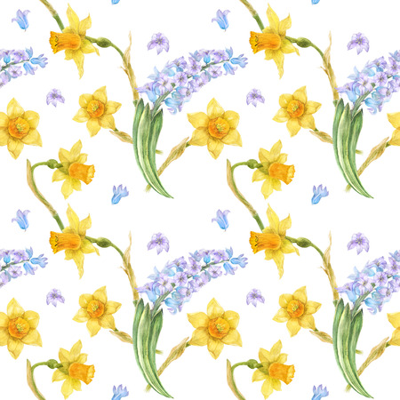 Watercolor botanical illustration in country style. Blue hyacinth and yellow daffodil on a white. Seamless patterns, path included Banque d'images - 108124373