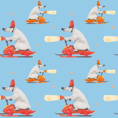 Polar bear rushing snowmobile. Watercolor seamless patterns for textile, wrapping paper and any tiled design. Blue background, clipping path uncluded Stock Photo