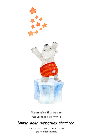 Cute watercolor illustration Little bear welcomes X-mas Tree constellation . Isolated clipping path included Banco de Imagens