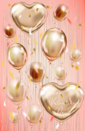 Pink gold foil balloons on the metallic fringe curtains shimmer curtain. Design for Valentine, Birthday, Wedding, Party and Christmas decorations, coral background Illustration