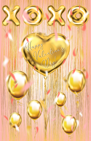 Golden foil balloons on the metallic fringe curtains shimmer curtain. Design for Valentine postcard, coral background Illustration