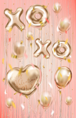 Pink gold foil balloons on the metallic fringe curtains shimmer curtain. Design for Valentine postcard, coral background