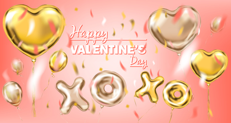 Pink and yellow gold foil balloons on the coral gradient background. Design for Valentines Day